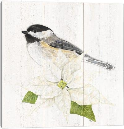 Peaceful Christmas Chickadee II Canvas Art Print