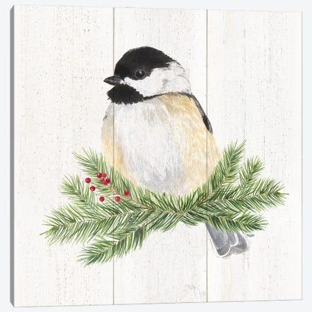 Peaceful Christmas Chickadee III Canvas Print #TRE442} by Tara Reed Canvas Art