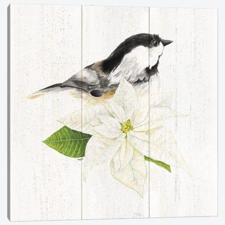 Peaceful Christmas Chickadee IV Canvas Print #TRE443} by Tara Reed Canvas Artwork
