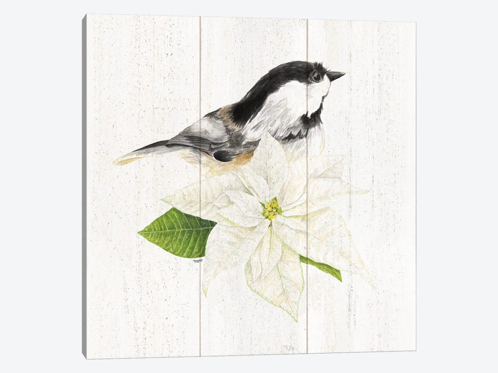 Peaceful Christmas Chickadee IV by Tara Reed 1-piece Canvas Art