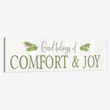 Peaceful Christmas Horizontal Comfort & Joy Canvas Print #TRE444} by Tara Reed Art Print