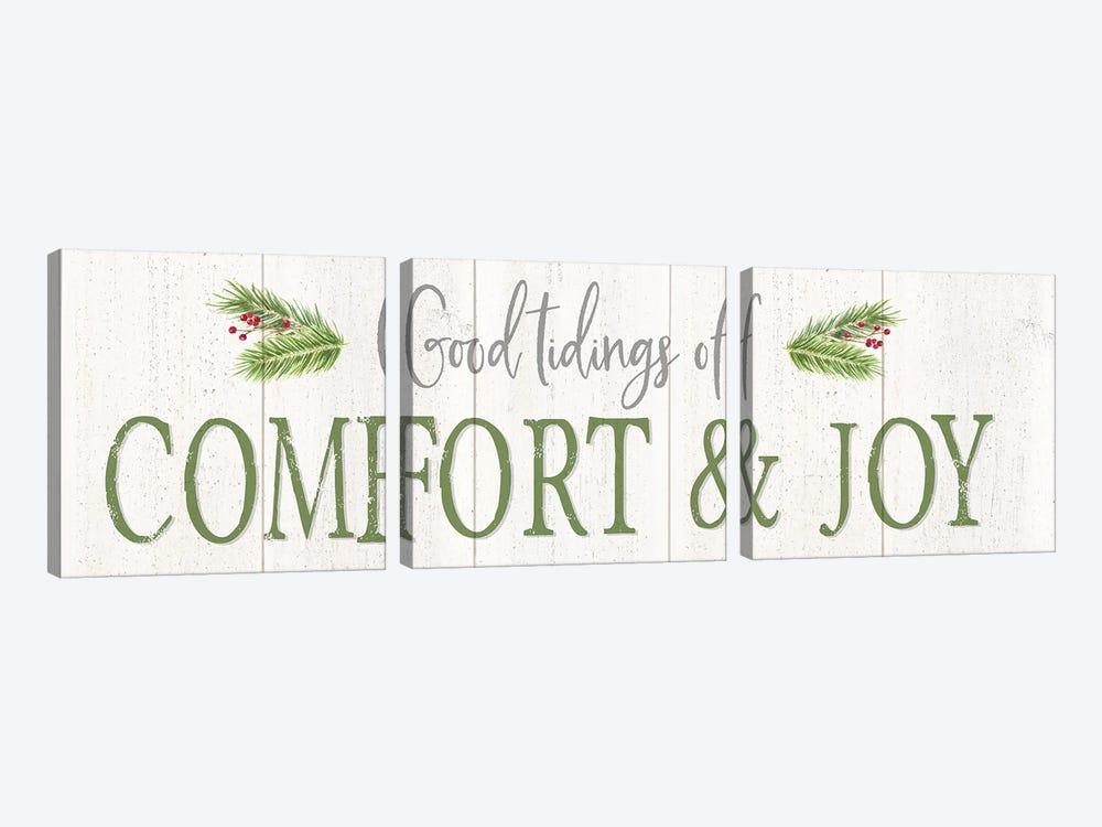 Peaceful Christmas Horizontal Comfort & Joy by Tara Reed 3-piece Canvas Print