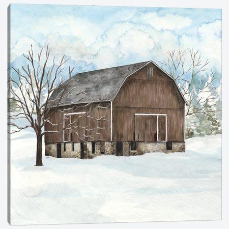 Winter Barn Quilt I Canvas Print #TRE500} by Tara Reed Art Print