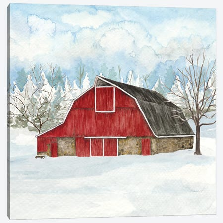 Winter Barn Quilt II Canvas Print #TRE501} by Tara Reed Canvas Print