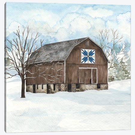 Winter Barn Quilt III Canvas Print #TRE502} by Tara Reed Art Print