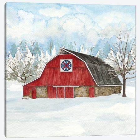 Winter Barn Quilt IV Canvas Print #TRE503} by Tara Reed Canvas Print