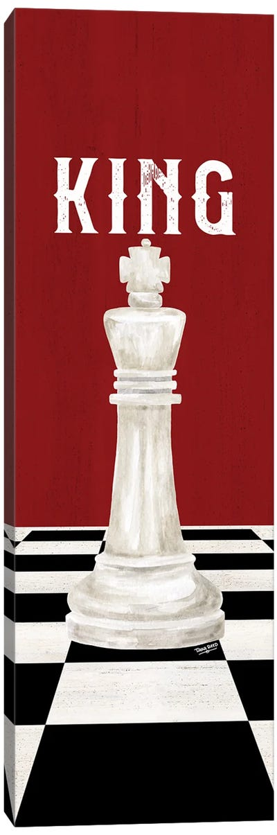 Rather Be Playing Chess Pieces Red Panel V-King Canvas Art Print