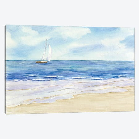 Sailboat & Seagulls I Canvas Print #TRE69} by Tara Reed Canvas Art