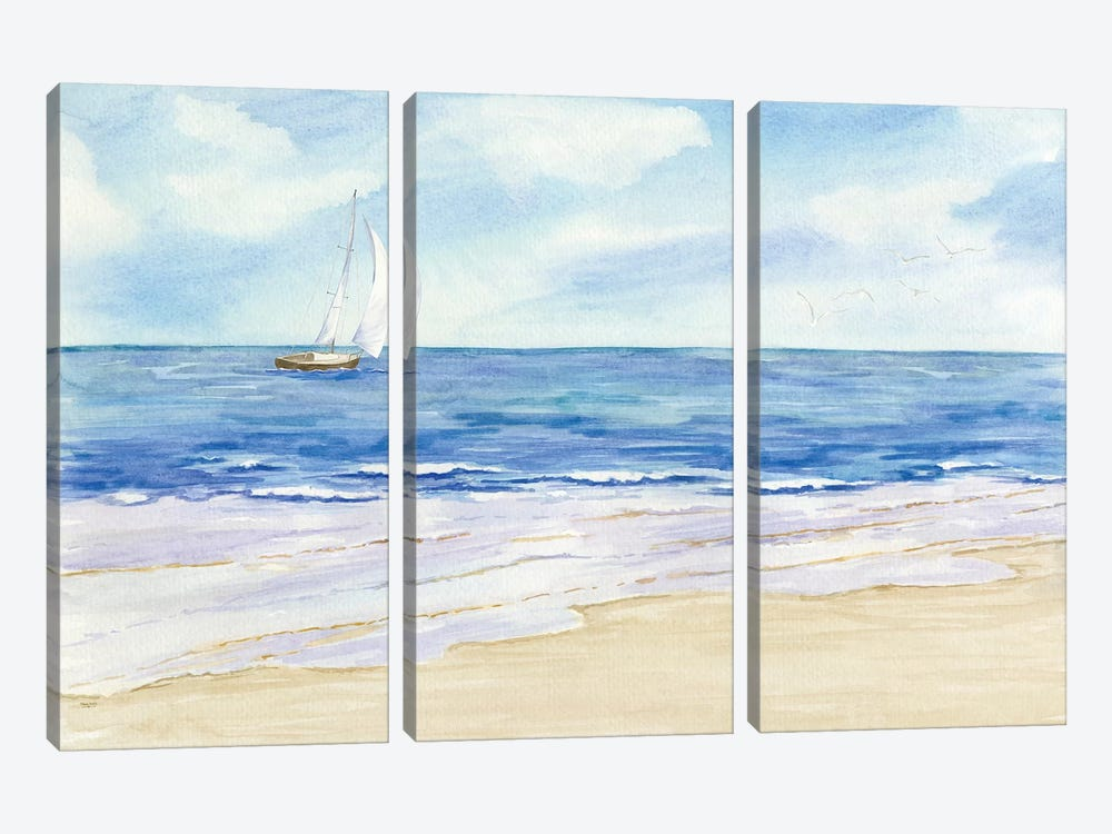 Sailboat & Seagulls I by Tara Reed 3-piece Art Print