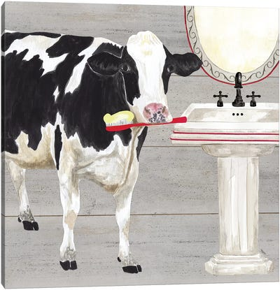 Bath Time For Cows Sink Canvas Art Print