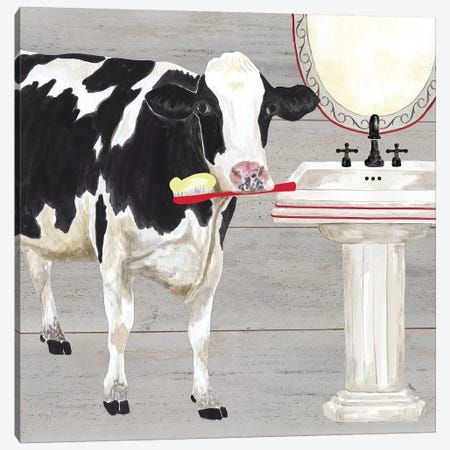 Bath Time For Cows Sink 3-Piece Canvas #TRE6} by Tara Reed Canvas Print