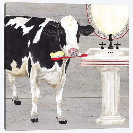 Bath Time For Cows Sink Canvas Print #TRE6} by Tara Reed Canvas Print