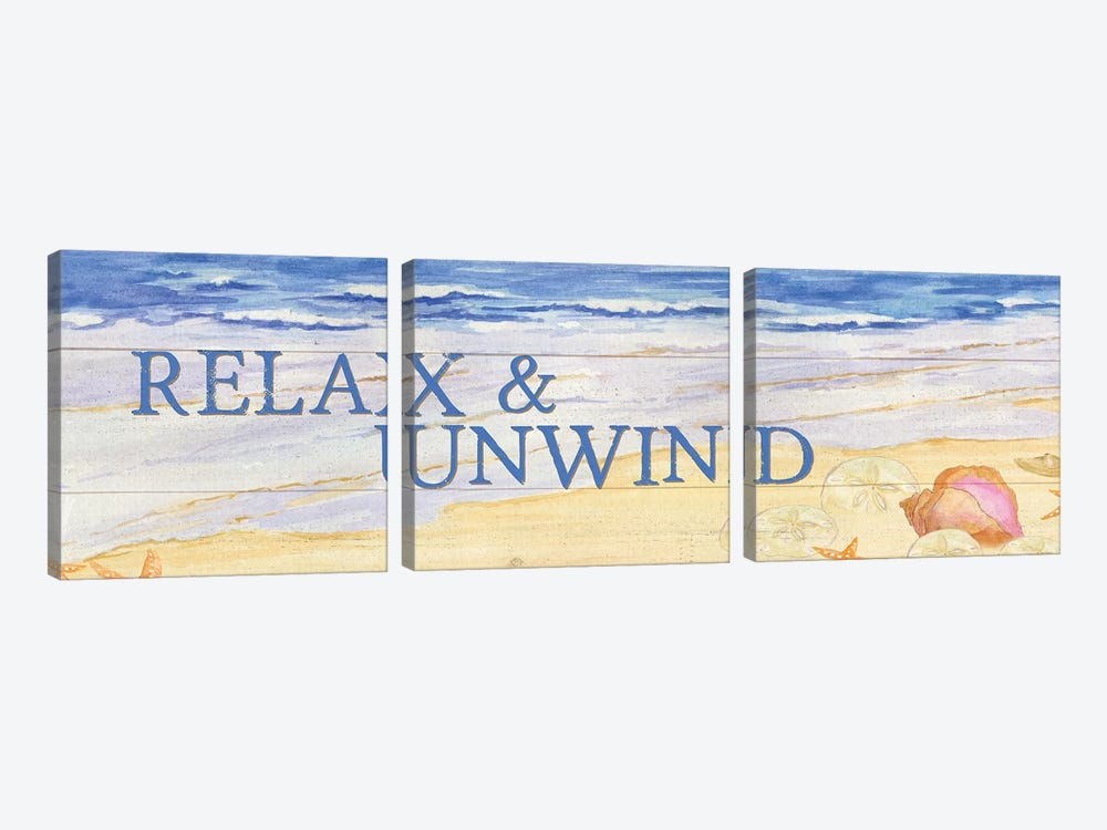 Savor The Sea Panel I by Tara Reed 3-piece Canvas Wall Art