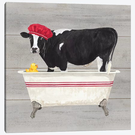 Bath Time For Cows Tub Canvas Print #TRE7} by Tara Reed Canvas Art Print