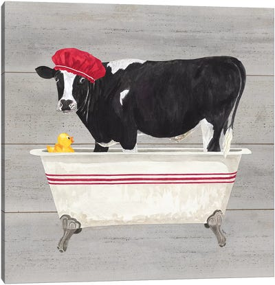 Bath Time For Cows Tub Canvas Art Print