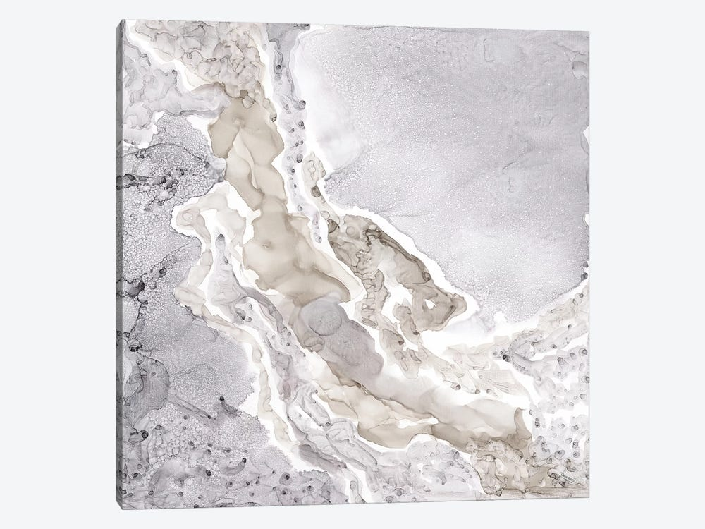 Silver & Grey Mineral Abstract by Tara Reed 1-piece Canvas Art Print