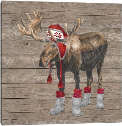 Warm In The Wilderness Moose Canvas Art Print