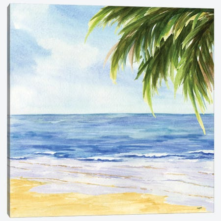 Beach & Palm Fronds I Canvas Print #TRE8} by Tara Reed Canvas Art