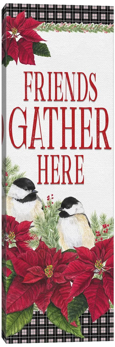 Chickadee Christmas Red - Friends Gather II Canvas Art Print