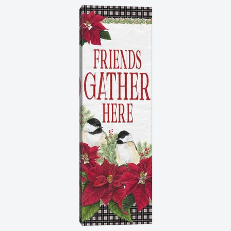 Chickadee Christmas Red - Friends Gather II Canvas Print #TRE95} by Tara Reed Canvas Art