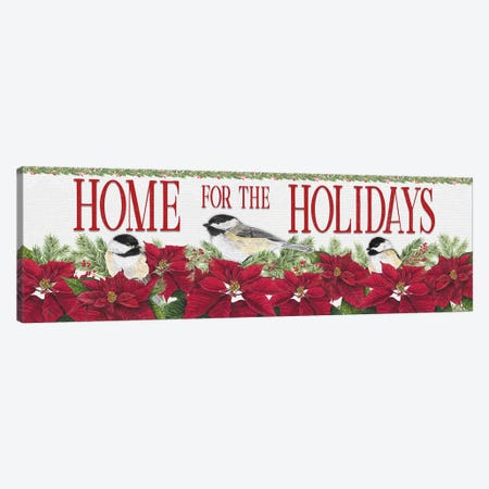 Chickadee Christmas Red - Home for the Holidays I Canvas Print #TRE96} by Tara Reed Canvas Artwork