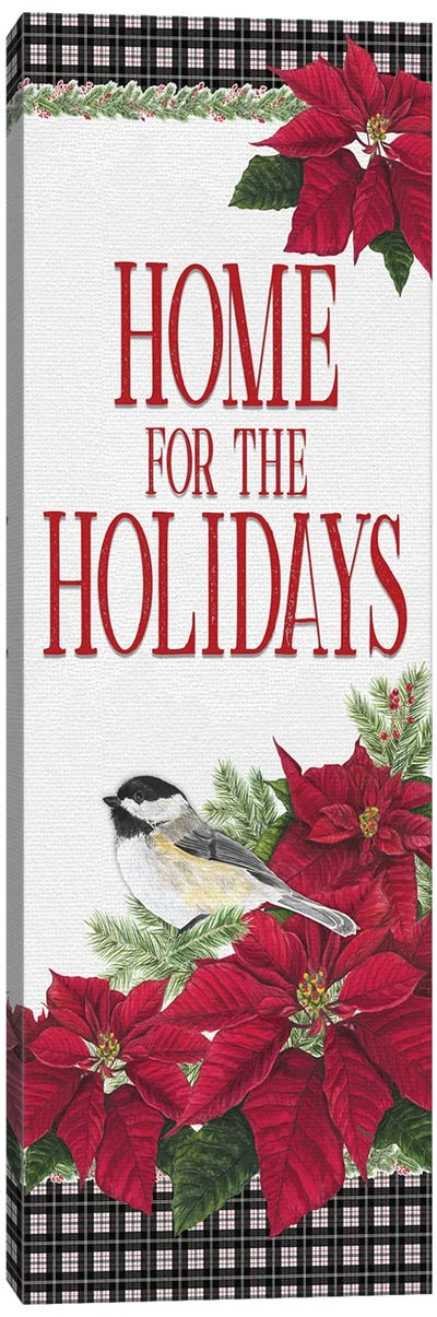 Chickadee Christmas Red - Home for the Holidays  II Canvas Art Print