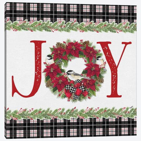 Chickadee Christmas Red I - Joy Canvas Print #TRE99} by Tara Reed Canvas Print