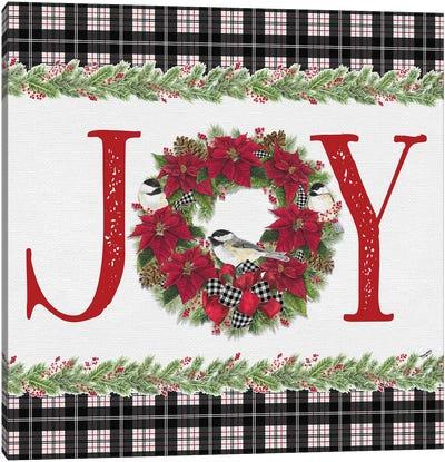 Chickadee Christmas Red I - Joy Canvas Art Print