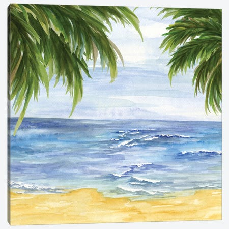 Beach & Palm Fronds II 3-Piece Canvas #TRE9} by Tara Reed Canvas Art