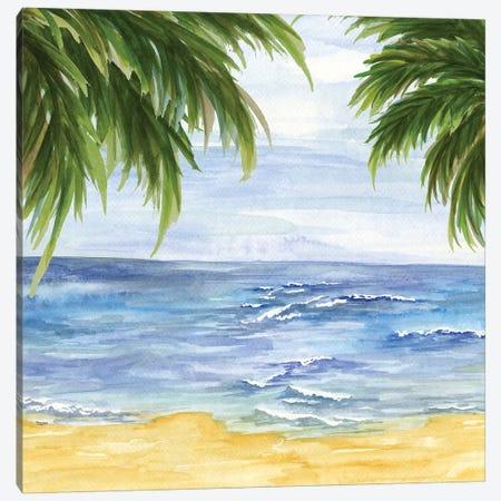 Beach & Palm Fronds II Canvas Print #TRE9} by Tara Reed Canvas Art