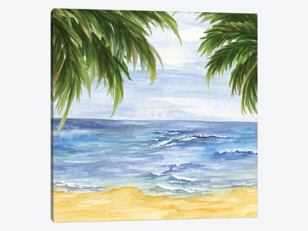 Beach & Palm Fronds II by Tara Reed 1-piece Canvas Art Print