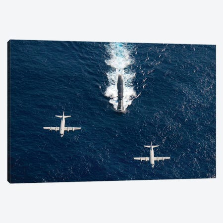 Two P-3 Orion Maritime Surveillance Aircraft Fly Over Attack Submarine USS Houston Canvas Print #TRK1001} by Stocktrek Images Canvas Art
