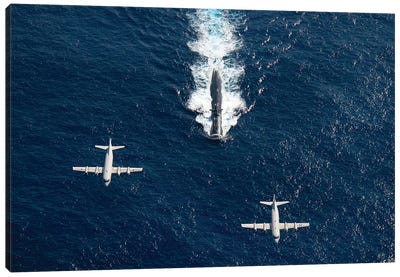 Two P-3 Orion Maritime Surveillance Aircraft Fly Over Attack Submarine USS Houston Canvas Art Print