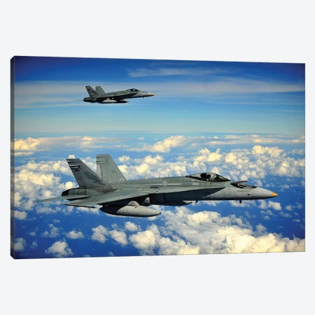 Two Royal Australian Air Force F/A-18 Hornets Canvas Print #TRK1002} by Stocktrek Images Canvas Wall Art
