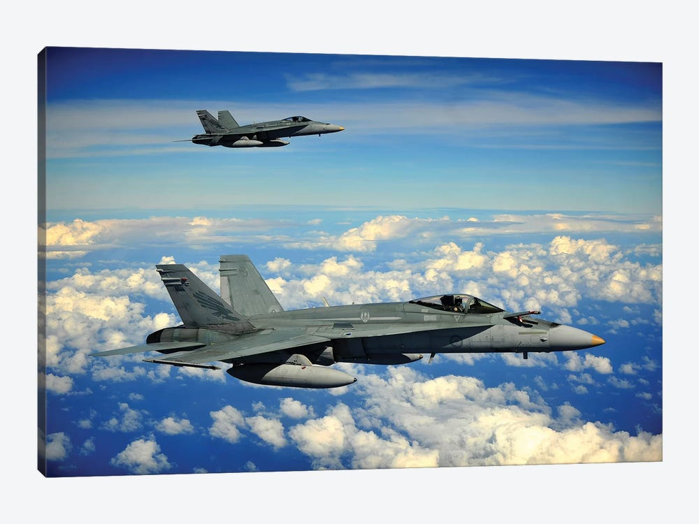 Two Royal Australian Air Force F/A-18 Hornets by Stocktrek Images 1-piece Canvas Art Print