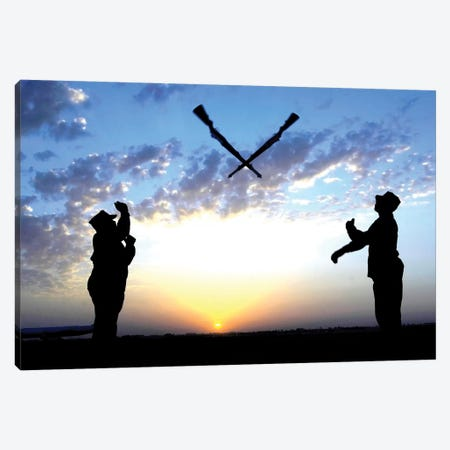 Two Staff Sergeants Perform The Overs Maneuver While Practicing Drill For The Base Honor Guard Canvas Print #TRK1003} by Stocktrek Images Canvas Artwork