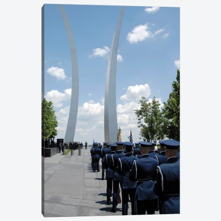 United States Honor Guards Stand In Formation At The Air Force Memorial Canvas Print #TRK1006} by Stocktrek Images Art Print