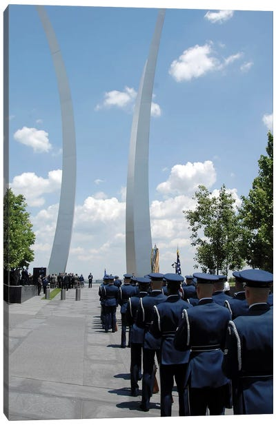 United States Honor Guards Stand In Formation At The Air Force Memorial Canvas Art Print