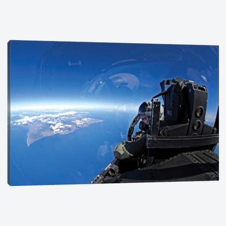 US Air Force Captain Looks Out Over The Sky In A F-15 Eagle Canvas Print #TRK1008} by Stocktrek Images Canvas Artwork