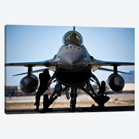 US Air Force Crew Chiefs Do Pre-Flight Checks Under An F-16 Fighting Falcon Canvas Print #TRK1009} by Stocktrek Images Canvas Artwork