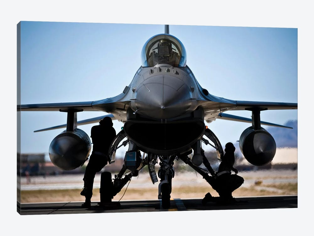 US Air Force Crew Chiefs Do Pre-Flight Checks Under An F-16 Fighting Falcon by Stocktrek Images 1-piece Canvas Art