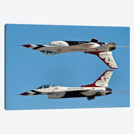 US Air Force Thunderbirds Demonstrate The Calypso Pass Canvas Print #TRK1010} by Stocktrek Images Canvas Art Print