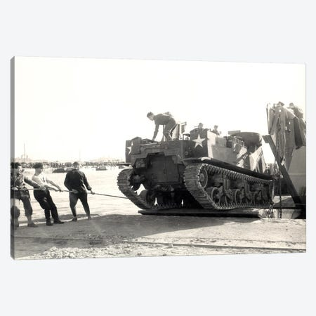 US Army M7 Howitzer Motor Carrier Being Unloaded In Algiers Canvas Print #TRK1012} by Stocktrek Images Art Print