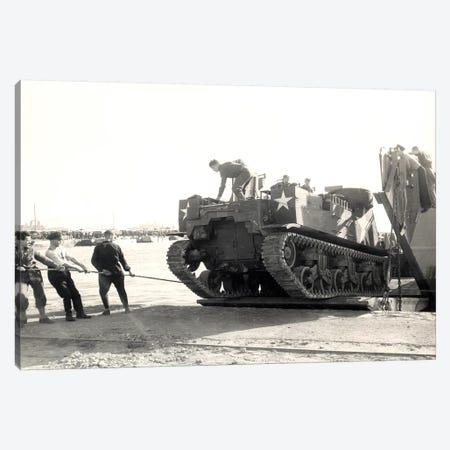 US Army M7 Howitzer Motor Carrier Being Unloaded In Algiers Canvas Print #TRK1012} by Stocktrek Images Art Print