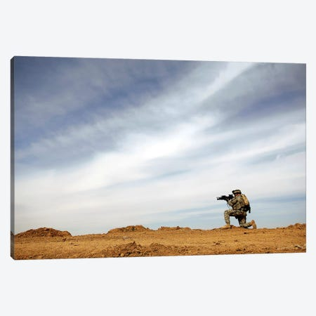 US Army Sergeant Provides Security During A Patrol In Iraq Canvas Print #TRK1014} by Stocktrek Images Canvas Artwork