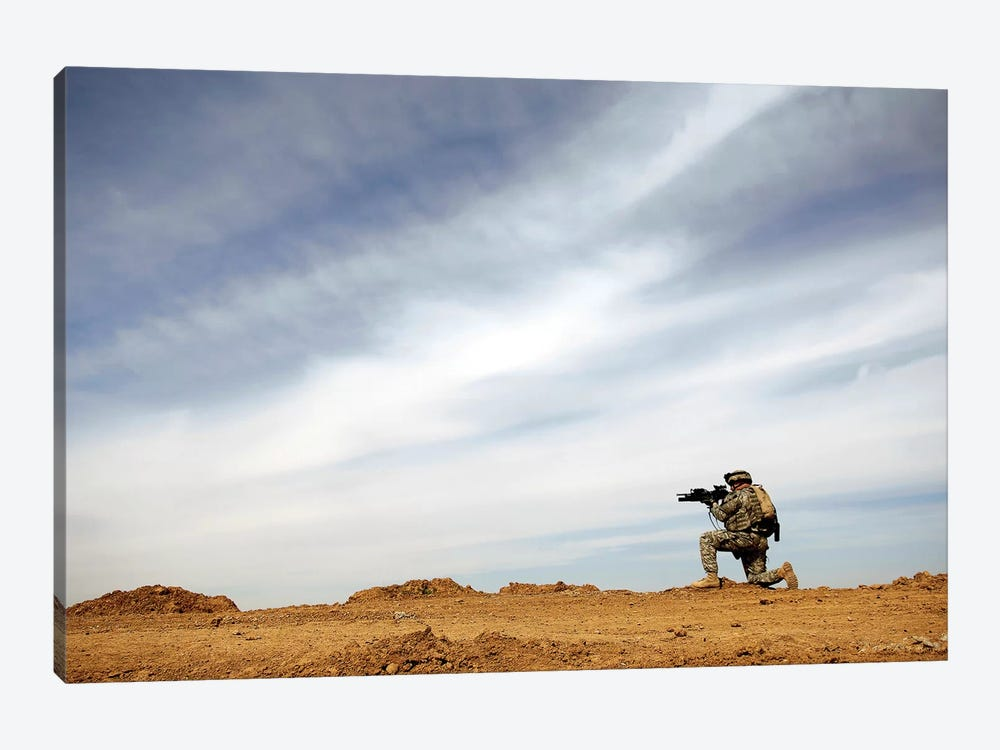 US Army Sergeant Provides Security During A Patrol In Iraq by Stocktrek Images 1-piece Canvas Wall Art