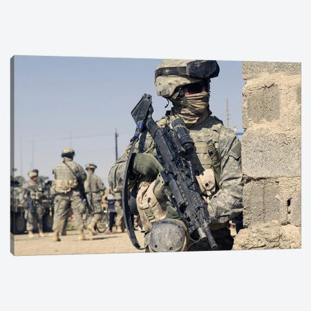 US Army Soldier Armed With A MK-48 Light Machine Gun Canvas Print #TRK1016} by Stocktrek Images Canvas Art