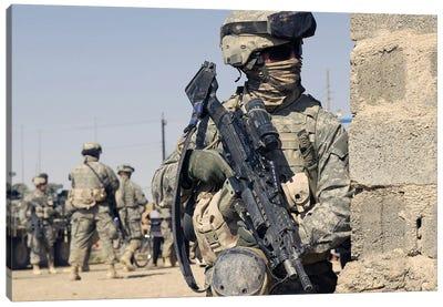 US Army Soldier Armed With A MK-48 Light Machine Gun Canvas Art Print