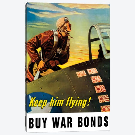 Vintage WWII Poster Of A Fighter Pilot Climbing Into His Airplane Canvas Print #TRK101} by John Parrot Canvas Art