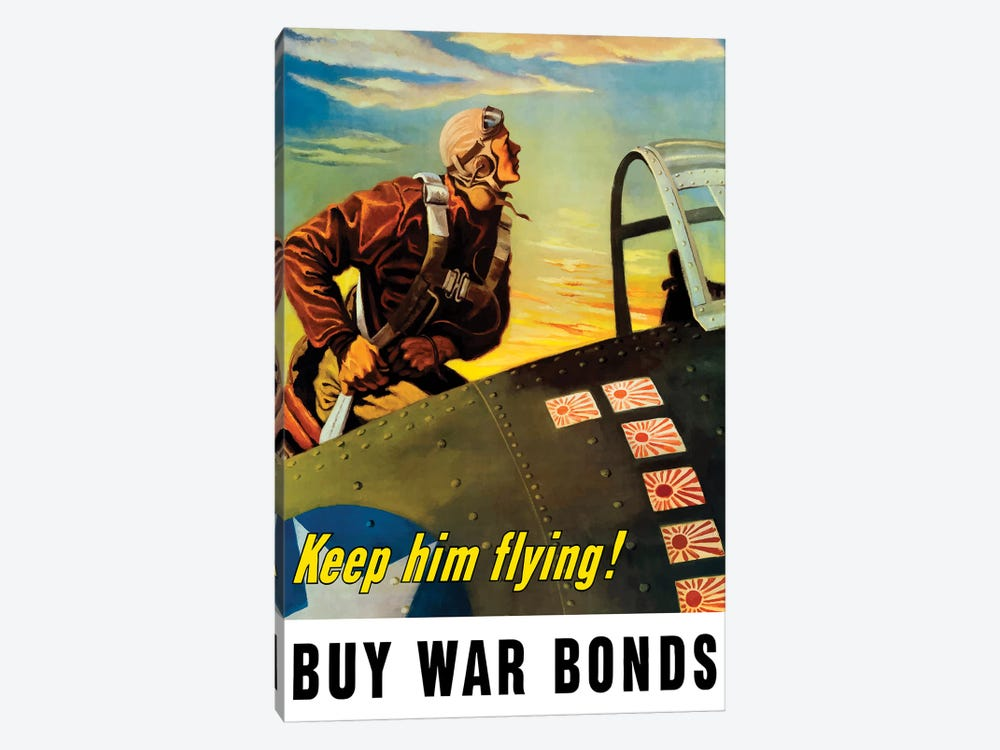 Vintage WWII Poster Of A Fighter Pilot Climbing Into His Airplane by John Parrot 1-piece Art Print